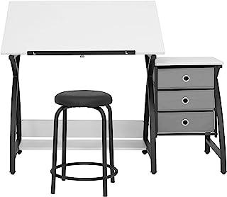 SD STUDIO DESIGNS Comet Center Plus,工艺桌和配套凳子套装 带存储和可调节顶部,黑色/白色
