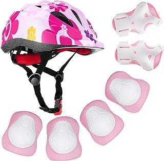 BOSONER 儿童自行车头盔垫套装肘部护膝护具套装适用于滑板、轮滑、自行车、滑板车运动、护腕幼儿适用于户外多种运动