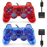 PS2 Dual Shock 有线控制器,2 件装游戏手柄遥控器,兼容 Playstation 2(透明红色和透明蓝色)