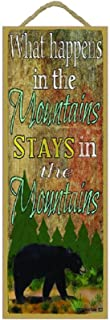 """What Happens in the Mountains Stays in Mountains Black Bear 15""""x5"""" Cabin Lodge 标志"""