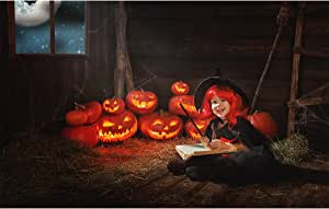 Allenjoy 17.78x12.7 厘米摄影背景背景快乐万圣节月亮夜嘉年南瓜巫师童年女孩道具照片工作室展位