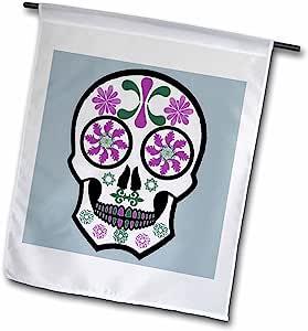 ANNE marie baugh 骷髅–骷髅糖紫色,绿色和蓝色–旗帜 12 x 18 inch Garden Flag