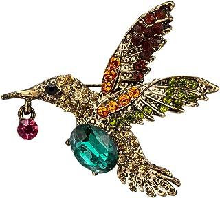 Knighthood 优雅小鸟配绿色半宝石和多色石细节胸针