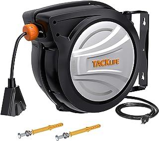 TACKLIFE 可伸缩延长线卷轴,65 英尺 + 4.5 英尺(约 1.9 米)线卷,12 AWG,3C SJTOW,180 ° 旋转天花板或安装金属开槽底座,三重水龙头连接器,重置按钮和可调节塞 - ECR02A
