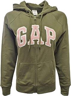 GAP 女式羊毛拱形标志全拉链连帽衫(L 码,军*(粉色标志))