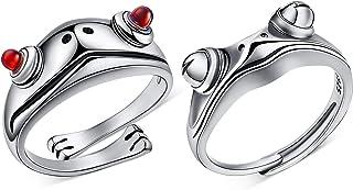 Yaomiao 2 件青蛙戒指银色青蛙开口戒指复古可爱动物手指可调节戒指,适合女性派对珠宝