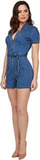 bebe 女式短裤,前拉链短袖 V 领蓝色牛仔短裤,女式连身裤