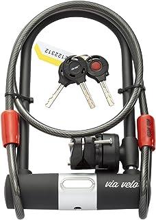自行车 U 型锁 带防范电缆 - VIA VELO 重型自行车 U 型锁钩 15 毫米带 3 个钥匙和防风雨减震锁套装,公路自行车山地自行车摩托车电动自行车折叠自行车