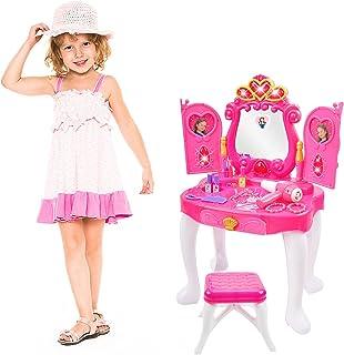 Ylovetoys 儿童化妆台 化妆台 带魔镜和凳子的公主梳妆台玩具 闪光灯 吹风机 音乐幼儿幻想装扮套装 适合 3-5 岁女孩