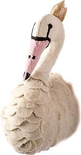 Linen Perch 天鹅毛毡墙饰 | 婴儿育儿所毛毡羊毛天鹅 | 女孩卧室或儿童游戏室时尚动物头饰 | 手工制作 20.32 厘米 x 17.78 厘米 x 40.64 厘米(天鹅)