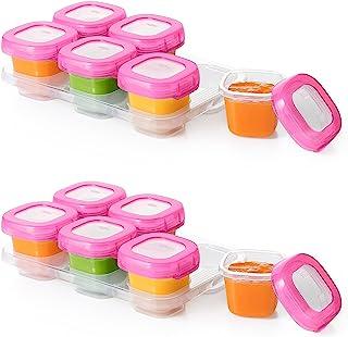 OXO Tot 婴儿块冷冻保鲜盒,粉色,2 盎司,12 件装