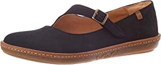El Naturalista 女士 N5314 舒适黑色/珊瑚玛丽珍平底鞋