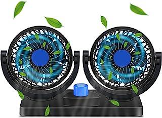 汽车风扇 - 12v 汽车风扇 后座风扇头枕 360 度旋转汽车风扇,冷却空气风扇双头电动 2 档速度调节适用于汽车SUV/RV/船只