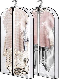 40 英寸(约 101.6 厘米)服装袋,可悬挂衣服、西装袋、衣橱收纳三角布透明礼服袋、衣服收纳袋罩,适用于衣物、礼服、外套、西装、毛衣、夹克 - 2 件