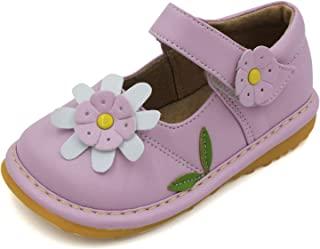 幼童鞋 - 吱吱吱声粉、白色或棕色花朵玛丽珍学步女童鞋