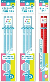 樱花彩色笔 铅笔 小学生文具 书写铅笔 六角轴 2B ブルー 3P×2個+赤鉛筆2P 蓝色