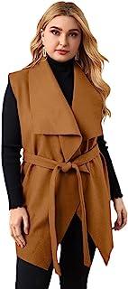 WDIRARA 女式加大码前开襟无袖腰带背心开衫夹克