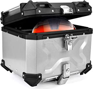 Woshider 摩托车存储尾盒 45L 摩托车防冲击防水行李箱 硬箱 5052 铝合金通用电机配件(银色)