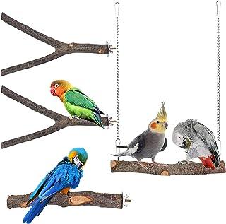 Shitailu 4 件套天然木鸟鹦鹉栖息地支架套装适用于鸟笼,鹦鹉支架分支叉叉适用于小长尾鹦鹉鹦鹉鹦鹉锥体