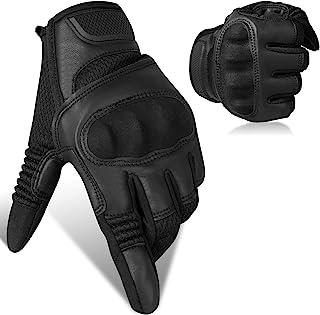 触摸屏全手指皮革摩托车手套,带硬指关节保护,适合男士女士骑行骑行、ATV 狩猎、登山、竞技、竞技(中号)