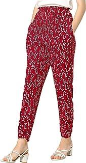 Allegra K 女式印花休闲弹性高腰裤