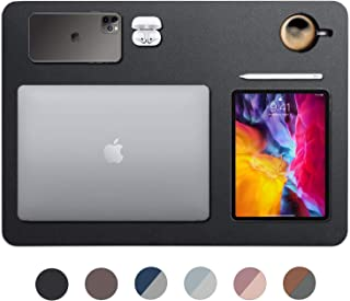 "VineCreations 皮革桌垫 Blotter Midnight 黑色 - 优质 - 光滑鼠标写表面防水 - *大程度地保护桌面/家庭(91.44 cm x 50.8 cm) 24"" x 17"" 午夜黑"