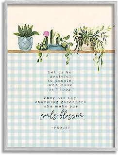 Stupell Industries Let Us Be Grateful 短语园艺绽放隐喻,由 Tammy Apple Gray 带框墙艺术,27.94 x 35.56 厘米,蓝色