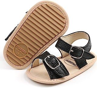 SOFMUO 女婴男孩闪亮凉鞋高级柔软防滑橡胶鞋底婴儿夏季户外鞋幼儿学步鞋 A/Black 0-6 Months Infant
