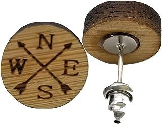 North East South West 耳环 - 木质徽章 - 耳钉 - 一对!