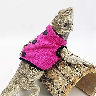 WATFOON 蜥蜴衣服背心适用于胡子龙爬行动物连帽衫服装毛衣 T 恤适合小动物皮肤保护照片派对(M,桃红色)