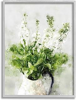 Stupell Industries 在Cacti 田野沙漠植物开花白色花卉,由 Ziwei Li 设计,灰色带框墙艺术,24 x 30,*