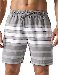 unitop 男式速干经典彩色条纹印花泳裤沙滩短裤