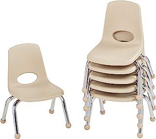 学校堆叠椅,镀铬钢腿堆叠学生椅 10 Inch 米色 10355-SD 6