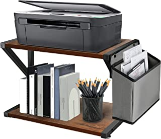Y&ME YM 桌面打印机支架 带收纳袋 2 层桌面收纳架 质朴木制打印机桌 带可调节防滑垫 台下打印机架适用于传真机 扫描仪 文件
