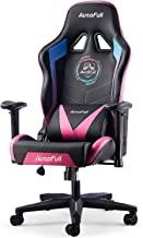 AutoFull 游戏椅赛车办公人体工学高背电脑椅 PU 皮革办公椅带头枕和腰椎支撑 E-Sports 旋转椅,多色