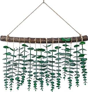 人造桉树壁挂,桉树藤和绿叶墙壁装饰,波西米亚家居装饰,适用于公寓卧室、客厅、厨房、育儿室和浴室,婚礼装饰