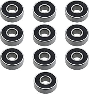 10 件 608RS ABEC-11 滑板轴承深沟球轴承双密封屏蔽 8x22x7mm 铬钢黑色轮滑轮 3D 打印机