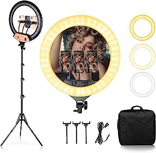 SH 18 英寸(约 45.7 厘米)环形灯带三脚架,可调光的 3200k-6500k LED 灯环套件,带手机支架和软管,适用于 Vlog 、化妆品、YouTube 、相机、照片、视频