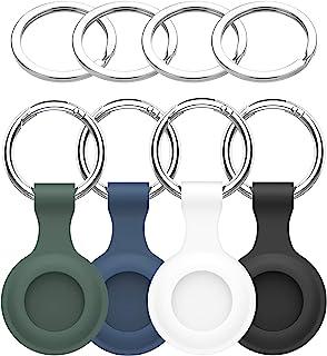 4 件装 Apple AirTag 钥匙扣,带防丢失追踪器的 AirTag 支架,保护套环盖,壁毯,行李,狗钥匙背包,宠物项圈 GOMRQING(黑色、蓝色、*、白色)