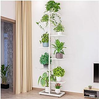 多层金属植物支架 - 室内角高 8 层 9 盆栽多层铁窄花架(白色)