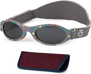 Optix 55 婴儿太阳镜带可调节系带 | 1 个月 - 3 岁男婴和女婴遮阳罩带外壳 | 软橡胶框架完美贴合 | UV 400 保护婴幼儿 | 尺寸:15。