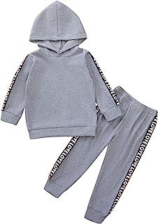 幼儿儿童运动服男孩女孩连帽上衣 + 运动裤套装纯色衣服套装