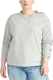 Rachel Roy 女式灰色按扣袖长袖圆领 T 恤上衣尺码 0X