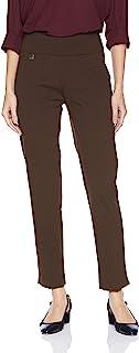 SLIM-SATION 女式纯色针织套穿方便九分裤,带下摆开衩