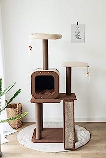 PetPals 四层旅行,猫咪活动树,带可更换刮擦垫。