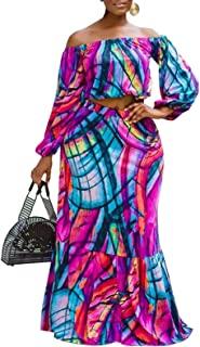 女式加大码裙套装 - 露肩拼色条纹露脐上衣和褶皱长裙套装