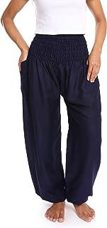 Lannaclothesdesign 女式抽褶腰纯色波西米亚瑜伽哈伦裤