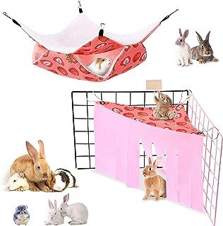 小型动物吊床和豚鼠隐藏角仓鼠吊床隐藏在几内亚猪双层吊床玩具 Peekaboo 玩具适用于豚鼠仓鼠鼠雪貂兔(草莓图案)