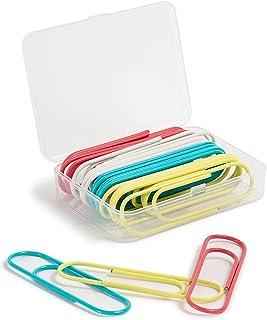 U Brands 大号纸夹,办公用品,多种颜色,粉色,蓝*,白色,黄色,24 支装