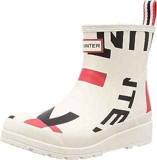 HUNTER 女靴白色爆炸标志短款雨靴白色